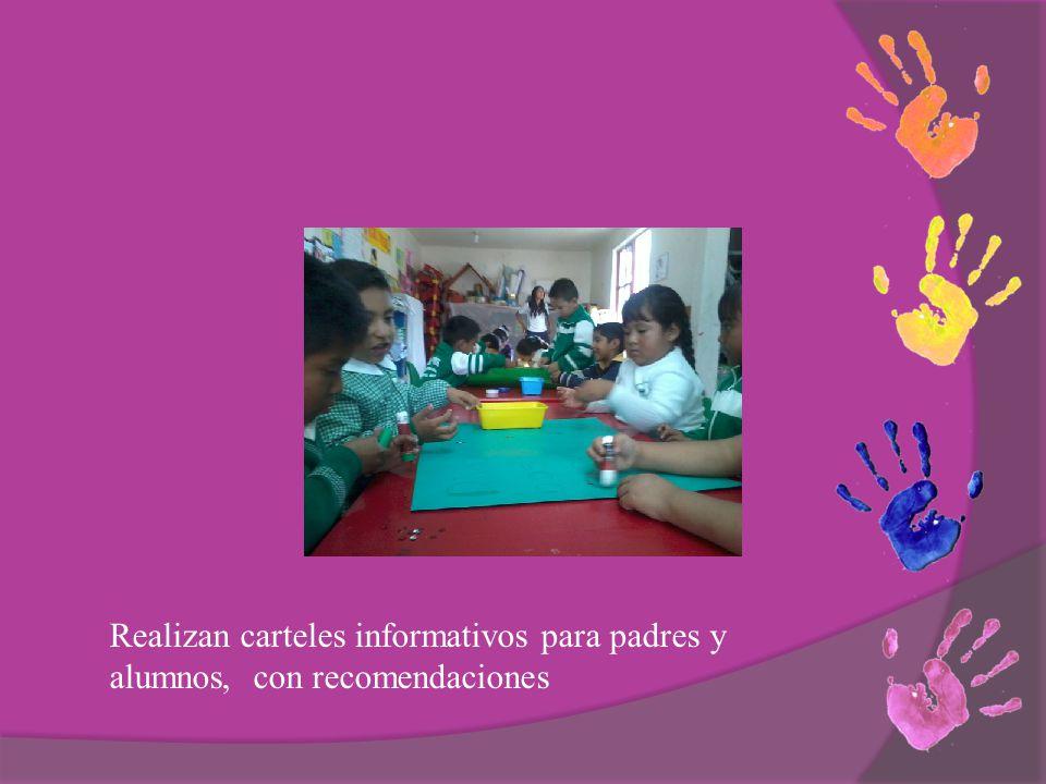 Realizan carteles informativos para padres y alumnos, con recomendaciones