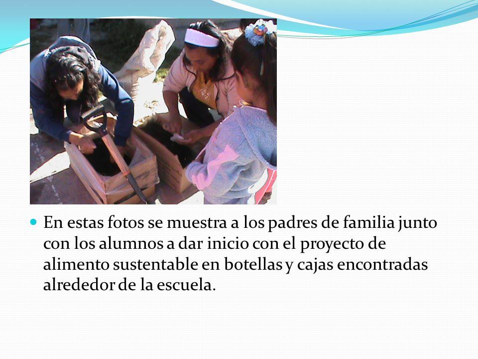 En estas fotos se muestra a los padres de familia junto con los alumnos a dar inicio con el proyecto de alimento sustentable en botellas y cajas encon
