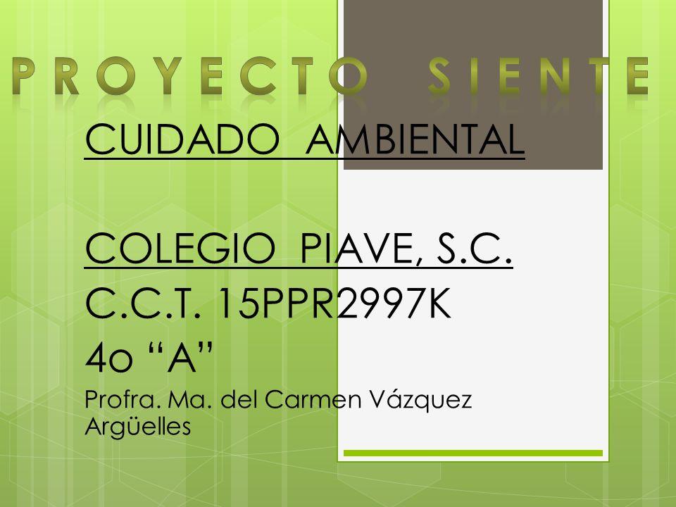 CUIDADO AMBIENTAL COLEGIO PIAVE, S.C. C.C.T. 15PPR2997K 4o A Profra. Ma. del Carmen Vázquez Argüelles