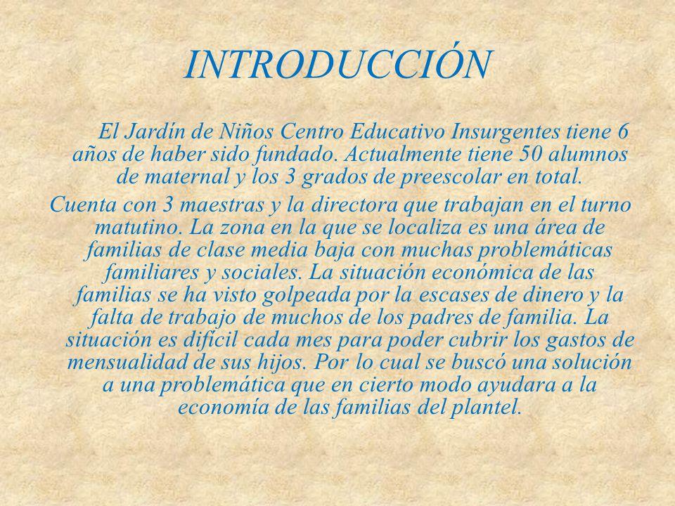 INTRODUCCIÓN El Jardín de Niños Centro Educativo Insurgentes tiene 6 años de haber sido fundado. Actualmente tiene 50 alumnos de maternal y los 3 grad