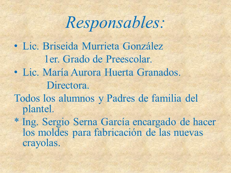 Responsables: Lic. Briseida Murrieta González 1er. Grado de Preescolar. Lic. María Aurora Huerta Granados. Directora. Todos los alumnos y Padres de fa