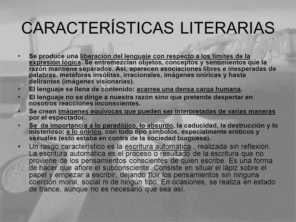CARACTERÍSTICAS LITERARIAS Se produce una liberación del lenguaje con respecto a los límites de la expresión lógica. Se entremezclan objetos, concepto