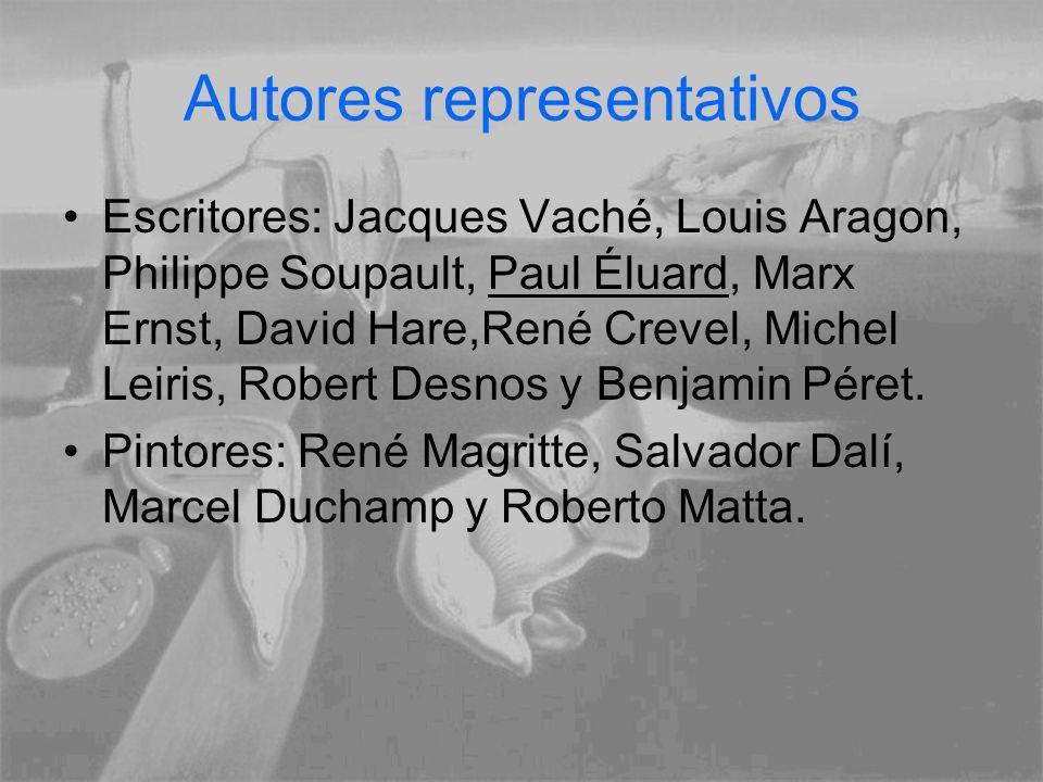 Autores representativos Escritores: Jacques Vaché, Louis Aragon, Philippe Soupault, Paul Éluard, Marx Ernst, David Hare,René Crevel, Michel Leiris, Ro