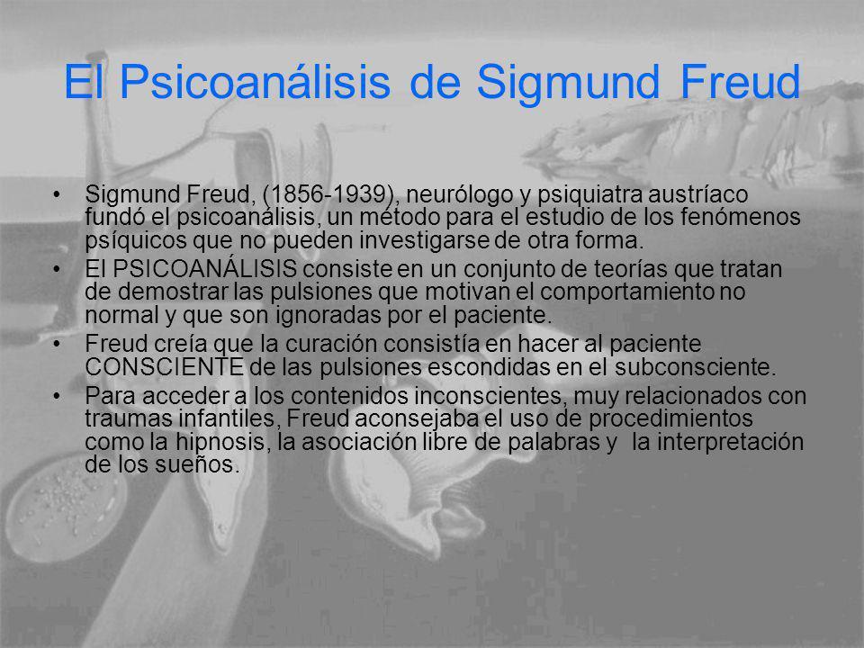 El Psicoanálisis de Sigmund Freud Sigmund Freud, (1856-1939), neurólogo y psiquiatra austríaco fundó el psicoanálisis, un método para el estudio de los fenómenos psíquicos que no pueden investigarse de otra forma.