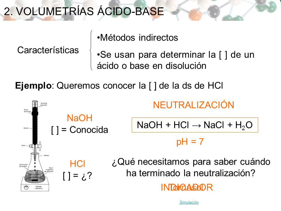 2. VOLUMETRÍAS ÁCIDO-BASE Características Métodos indirectos Se usan para determinar la [ ] de un ácido o base en disolución Ejemplo: Queremos conocer