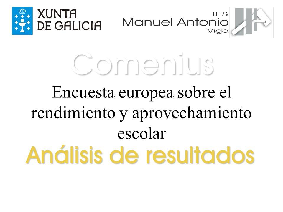 Encuesta europea sobre el rendimiento y aprovechamiento escolar Análisis de resultados Comenius