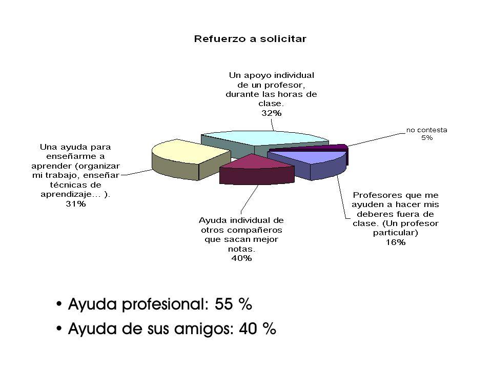Ayuda profesional: 55 % Ayuda de sus amigos: 40 %
