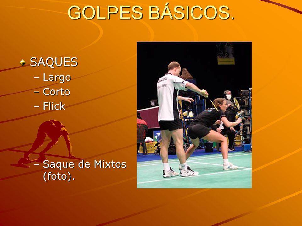 GOLPES BÁSICOS. SAQUES –Largo –Corto –Flick –Saque de Mixtos (foto).
