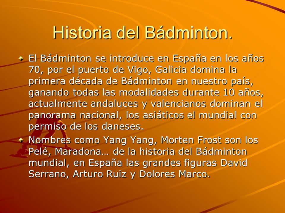 Historia del Bádminton. El Bádminton se introduce en España en los años 70, por el puerto de Vigo, Galicia domina la primera década de Bádminton en nu