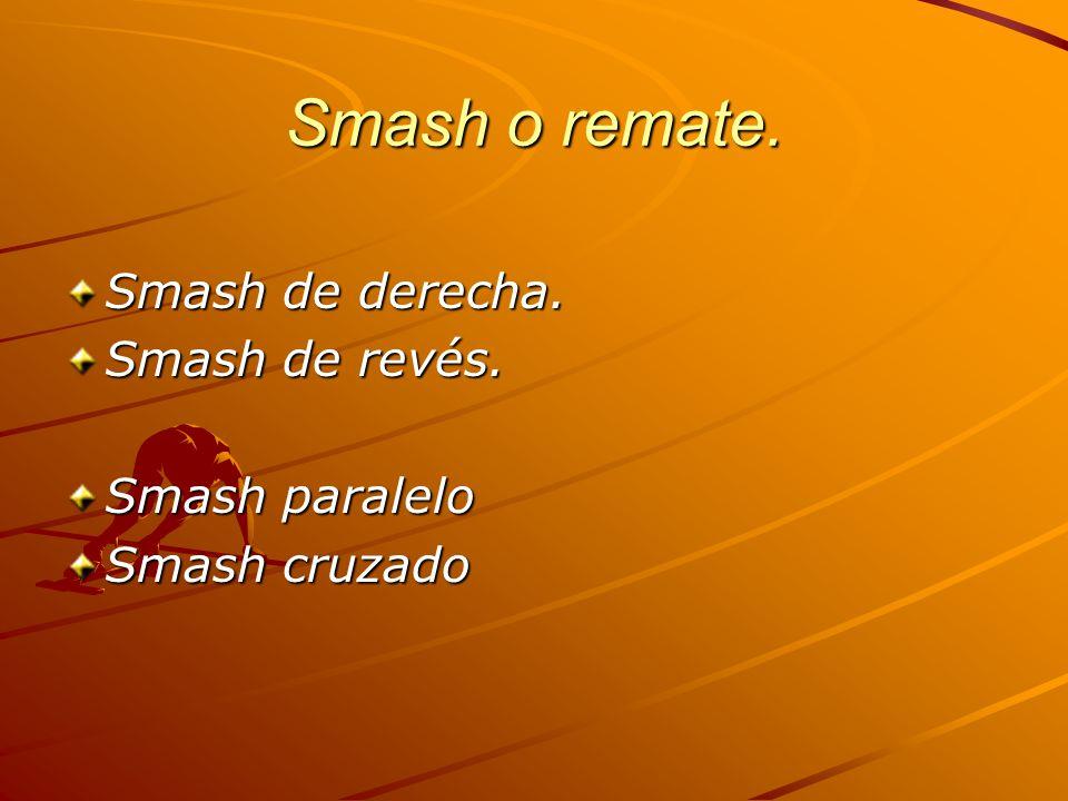 Smash o remate. Smash de derecha. Smash de revés. Smash paralelo Smash cruzado