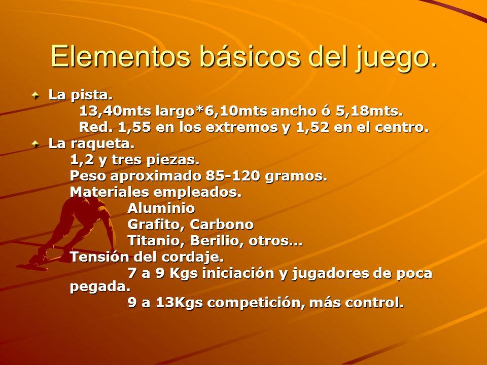Elementos básicos del juego. La pista. 13,40mts largo*6,10mts ancho ó 5,18mts. Red. 1,55 en los extremos y 1,52 en el centro. La raqueta. 1,2 y tres p