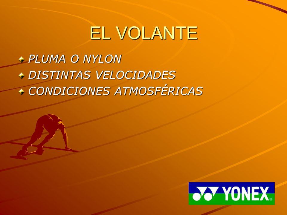 EL VOLANTE PLUMA O NYLON DISTINTAS VELOCIDADES CONDICIONES ATMOSFÉRICAS