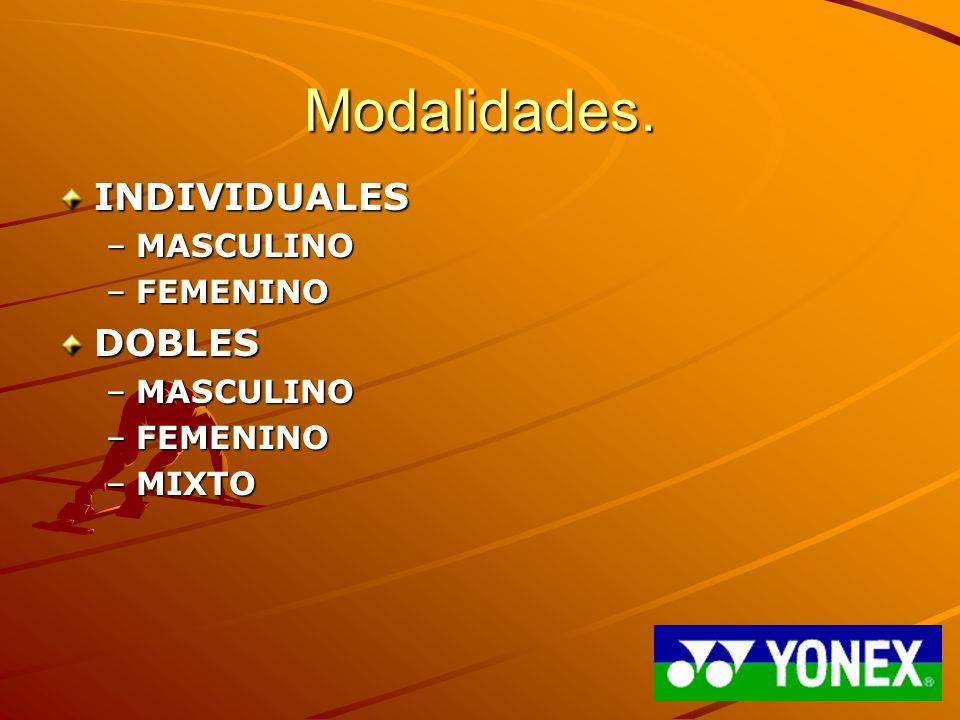 Modalidades. INDIVIDUALES –MASCULINO –FEMENINO DOBLES –MASCULINO –FEMENINO –MIXTO