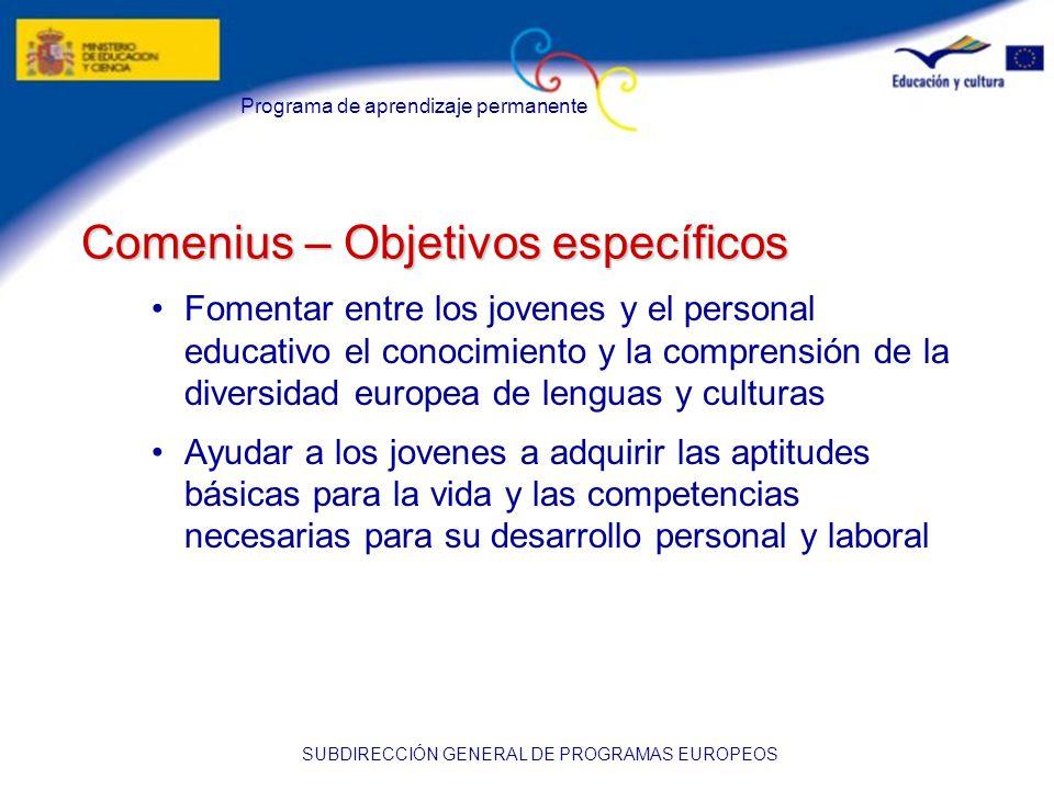 Programa de aprendizaje permanente SUBDIRECCIÓN GENERAL DE PROGRAMAS EUROPEOS Comenius – Objetivos específicos Fomentar entre los jovenes y el personal educativo el conocimiento y la comprensión de la diversidad europea de lenguas y culturas Ayudar a los jovenes a adquirir las aptitudes básicas para la vida y las competencias necesarias para su desarrollo personal y laboral