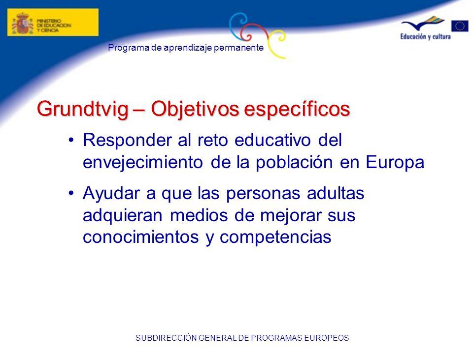 Programa de aprendizaje permanente SUBDIRECCIÓN GENERAL DE PROGRAMAS EUROPEOS Grundtvig – Objetivos específicos Responder al reto educativo del envejecimiento de la población en Europa Ayudar a que las personas adultas adquieran medios de mejorar sus conocimientos y competencias
