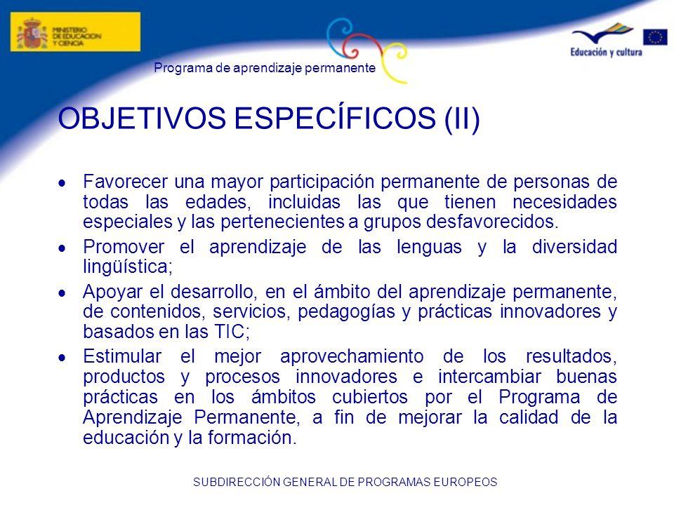 Programa de aprendizaje permanente SUBDIRECCIÓN GENERAL DE PROGRAMAS EUROPEOS OBJETIVOS ESPECÍFICOS (II) Favorecer una mayor participación permanente de personas de todas las edades, incluidas las que tienen necesidades especiales y las pertenecientes a grupos desfavorecidos.