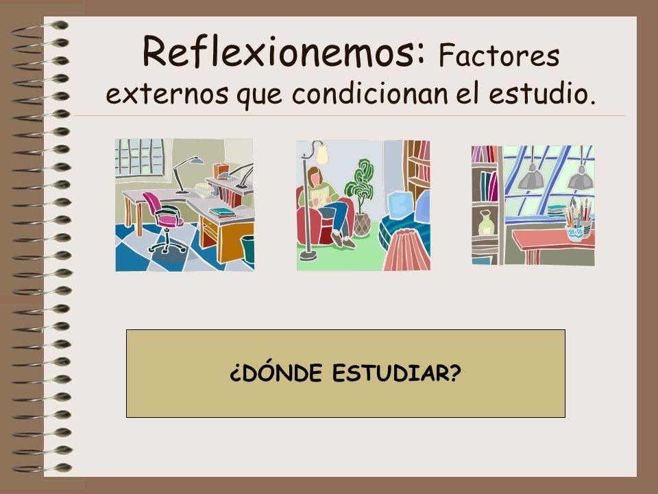 Reflexionemos: Factores externos que condicionan el estudio. ¿DÓNDE ESTUDIAR?