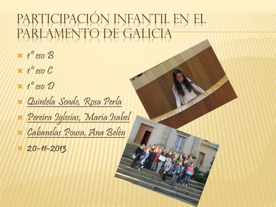 1º eso B 1º eso C 1º eso D Quintela Sende, Rosa Perla Pereira Iglesias, María Isabel Cabanelas Pousa, Ana Belén 20-11-2013