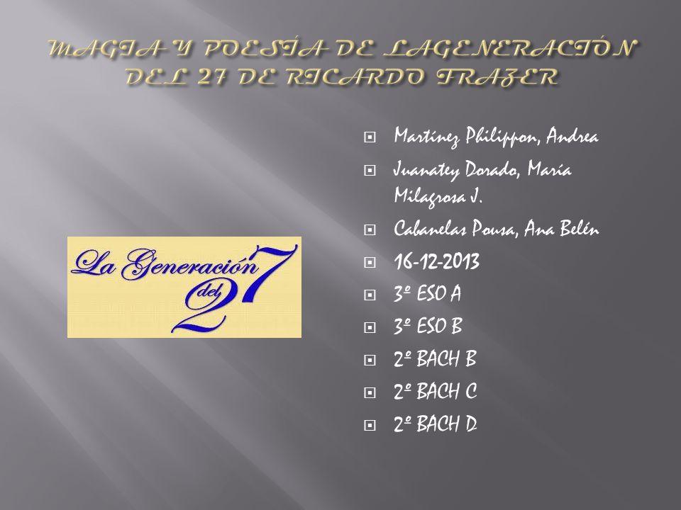 Martínez Philippon, Andrea Juanatey Dorado, María Milagrosa J. Cabanelas Pousa, Ana Belén 16-12-2013 3º ESO A 3º ESO B 2º BACH B 2º BACH C 2º BACH D