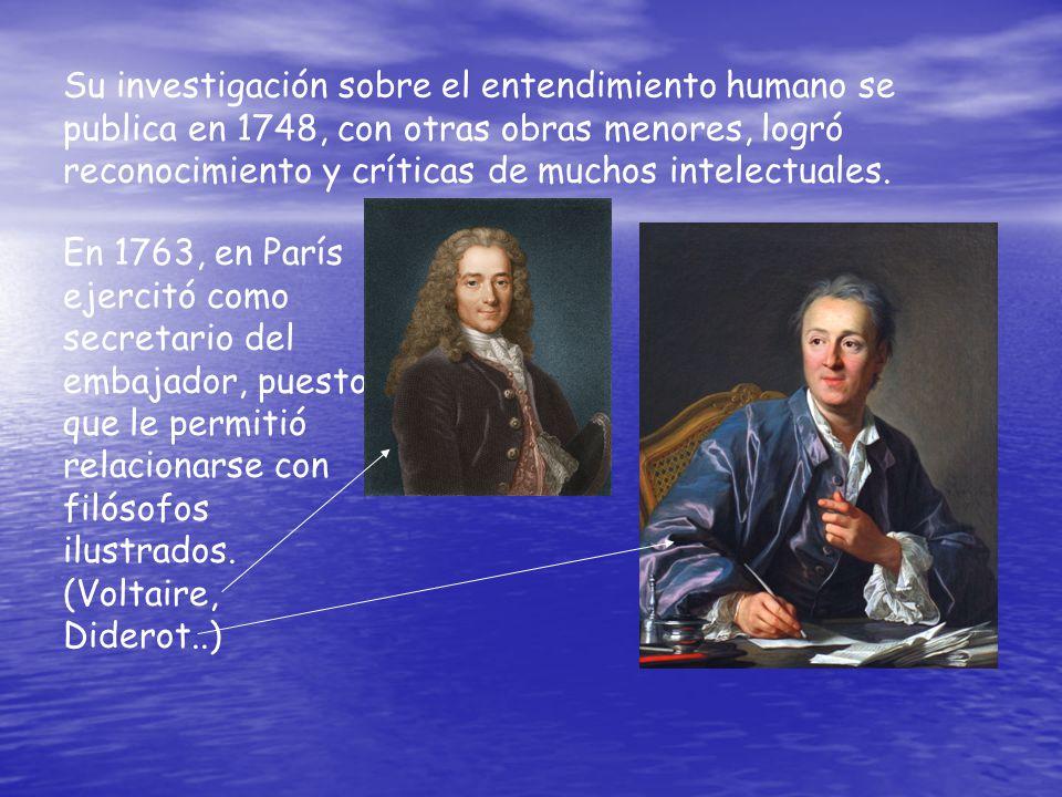 Su investigación sobre el entendimiento humano se publica en 1748, con otras obras menores, logró reconocimiento y críticas de muchos intelectuales. E