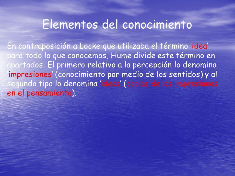 Elementos del conocimiento En contraposición a Locke que utilizaba el término idea para todo lo que conocemos, Hume divide este término en apartados.
