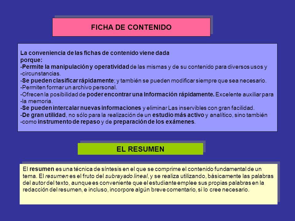 FICHA DE CONTENIDO La conveniencia de las fichas de contenido viene dada porque: -Permite la manipulación y operatividad de las mismas y de su conteni