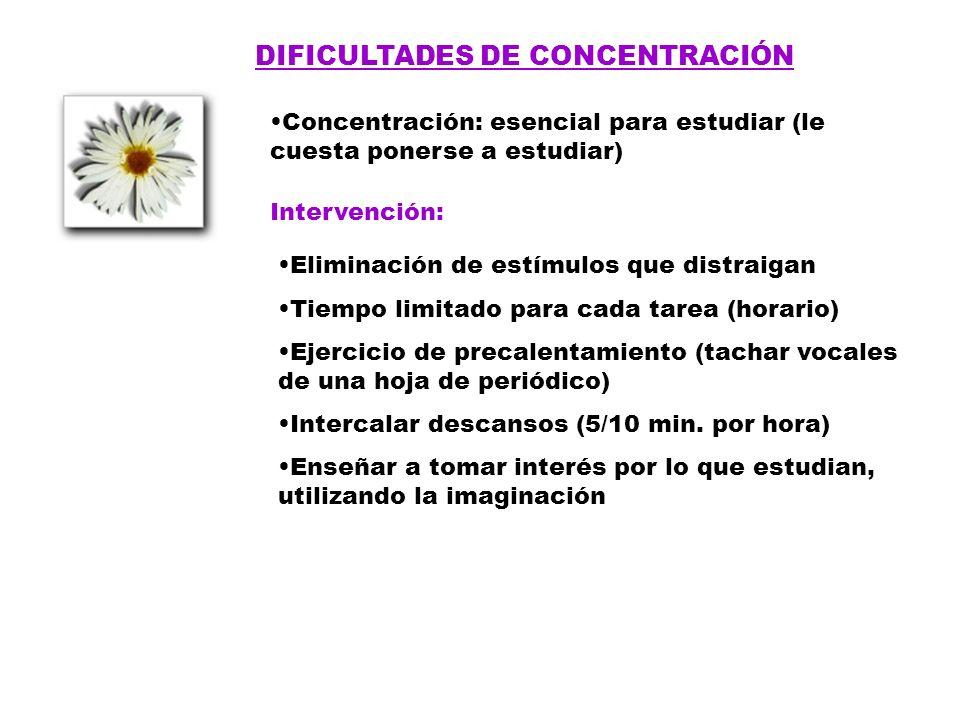 DIFICULTADES DE CONCENTRACIÓN Concentración: esencial para estudiar (le cuesta ponerse a estudiar) Intervención: Eliminación de estímulos que distraig