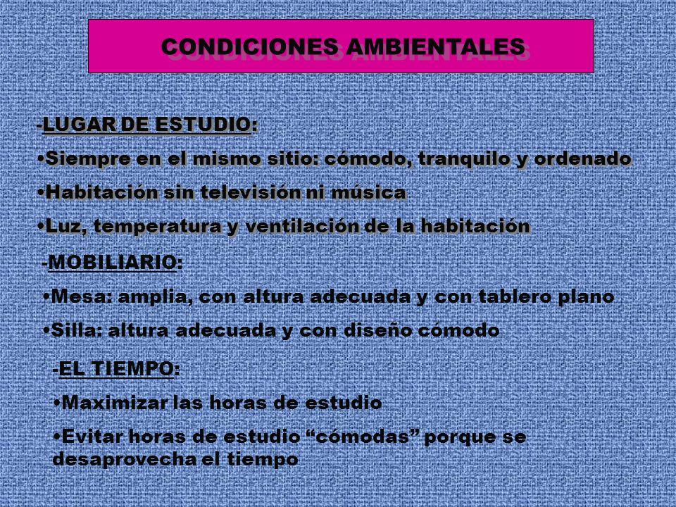 CONDICIONES AMBIENTALES -LUGAR DE ESTUDIO: Siempre en el mismo sitio: cómodo, tranquilo y ordenado Habitación sin televisión ni música Luz, temperatur