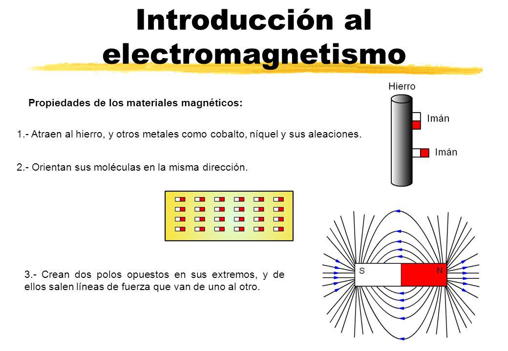 Introducción al electromagnetismo Propiedades de los materiales magnéticos: 1.- Atraen al hierro, y otros metales como cobalto, níquel y sus aleacione