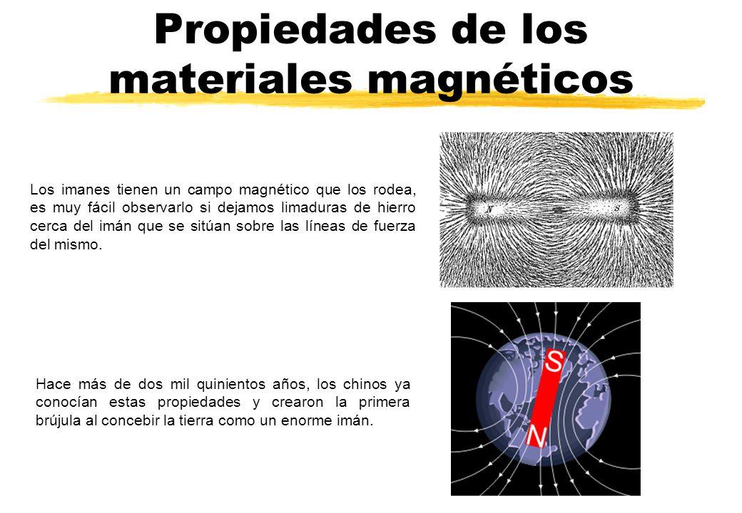 Propiedades de los materiales magnéticos Los imanes tienen un campo magnético que los rodea, es muy fácil observarlo si dejamos limaduras de hierro ce
