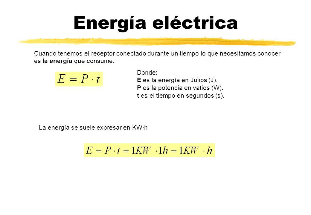 Energía eléctrica Cuando tenemos el receptor conectado durante un tiempo lo que necesitamos conocer es la energía que consume. Donde: E es la energía