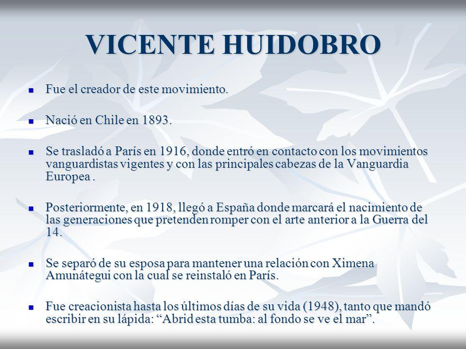 VICENTE HUIDOBRO Fue el creador de este movimiento. Fue el creador de este movimiento. Nació en Chile en 1893. Nació en Chile en 1893. Se trasladó a P