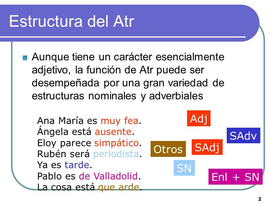 2 Estructura del Atr Aunque tiene un carácter esencialmente adjetivo, la función de Atr puede ser desempeñada por una gran variedad de estructuras nom