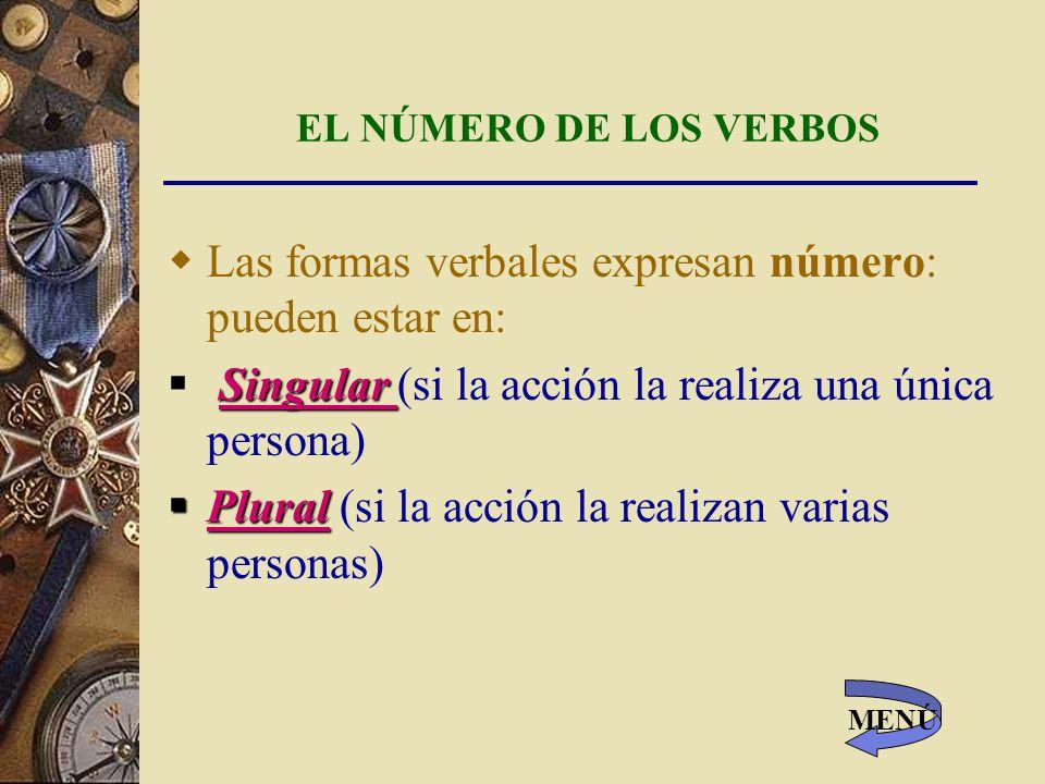 EL NÚMERO DE LOS VERBOS Las formas verbales expresan número: pueden estar en: Singular Singular (si la acción la realiza una única persona) Plural Plural (si la acción la realizan varias personas) MENÚ