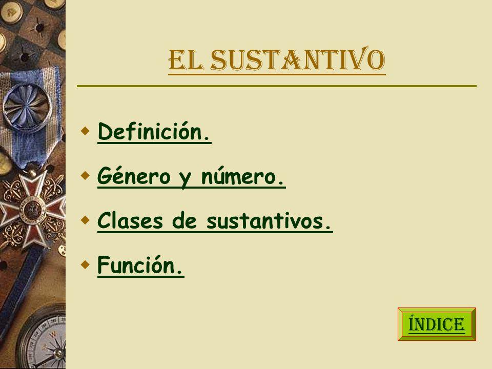 EL SUSTANTIVO Definición. Género y número. Clases de sustantivos. Función. ÍNDICE