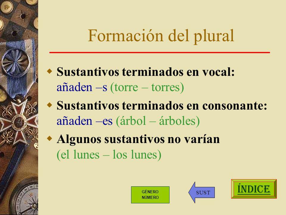 Formación del plural Sustantivos terminados en vocal: añaden –s (torre – torres) Sustantivos terminados en consonante: añaden –es (árbol – árboles) Algunos sustantivos no varían (el lunes – los lunes) ÍNDICE SUST GÉNERO NÚMERO