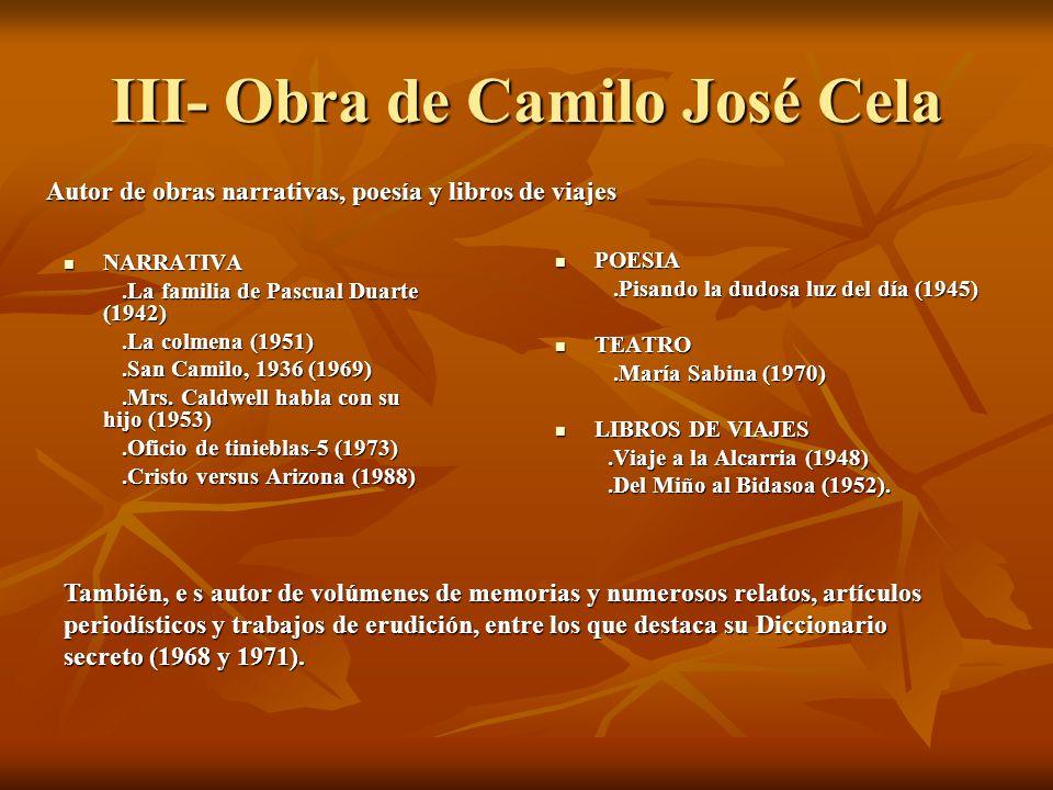 III- Obra de Camilo José Cela NARRATIVA NARRATIVA.La familia de Pascual Duarte (1942).La familia de Pascual Duarte (1942).La colmena (1951).La colmena