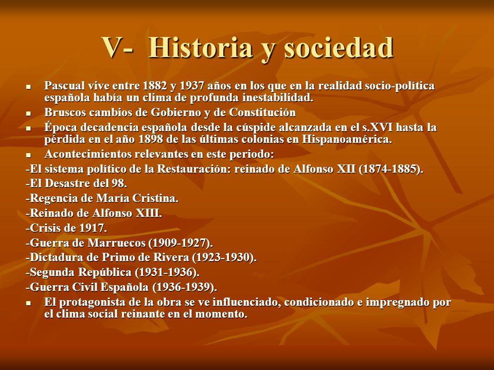 V- Historia y sociedad Pascual vive entre 1882 y 1937 años en los que en la realidad socio-política española había un clima de profunda inestabilidad.