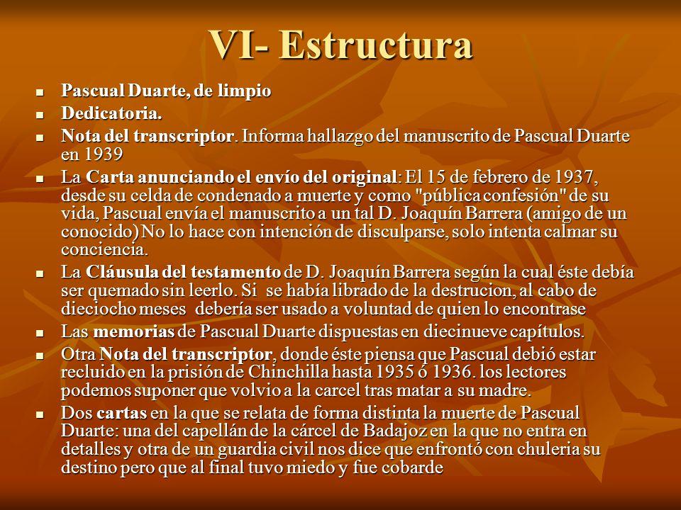 VI- Estructura Pascual Duarte, de limpio Pascual Duarte, de limpio Dedicatoria. Dedicatoria. Nota del transcriptor. Informa hallazgo del manuscrito de