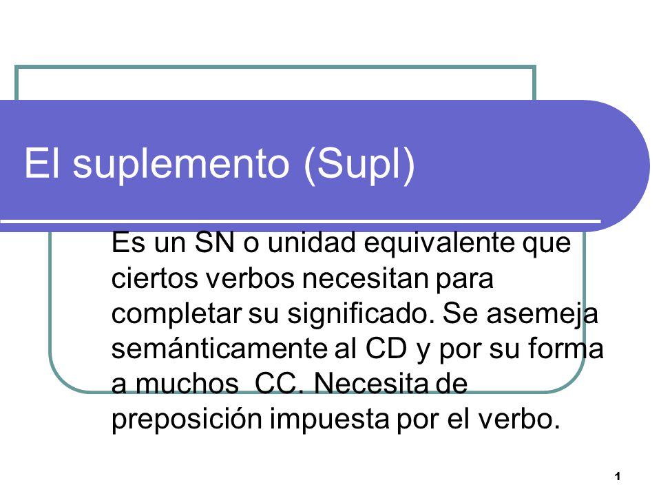 1 El suplemento (Supl) Es un SN o unidad equivalente que ciertos verbos necesitan para completar su significado.