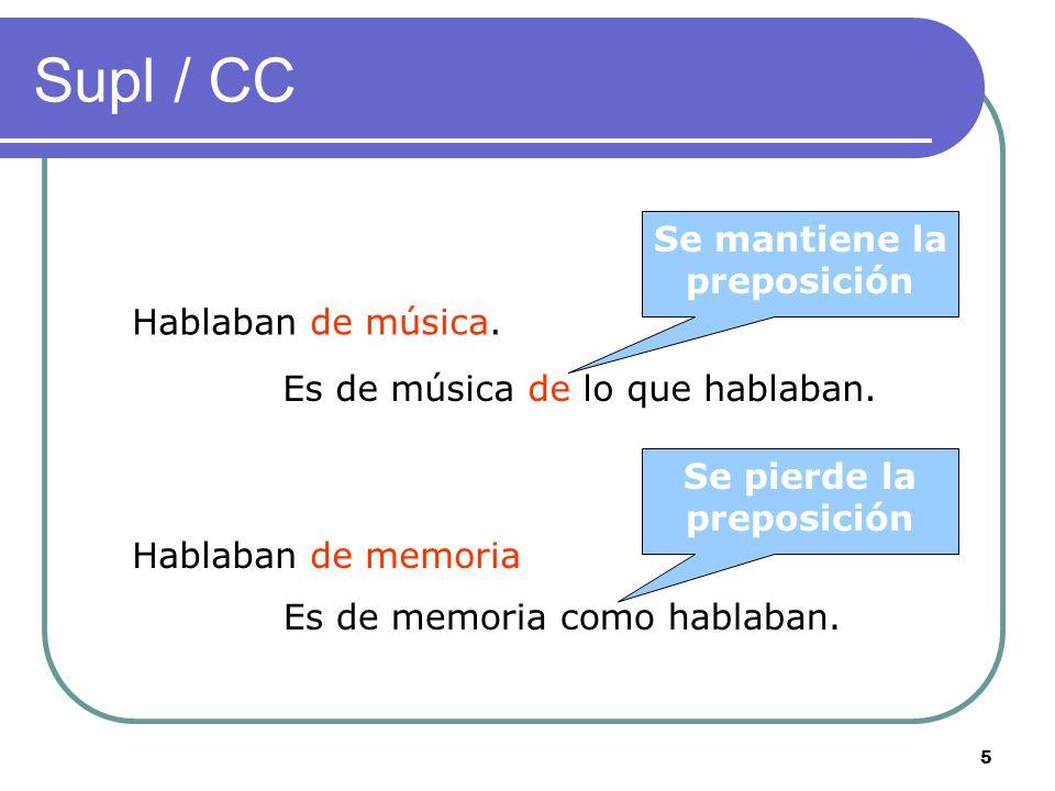 4 Supl / CD El CD puede construirse sin preposición, el Supl necesita de la preposición seleccionada por el verbo.