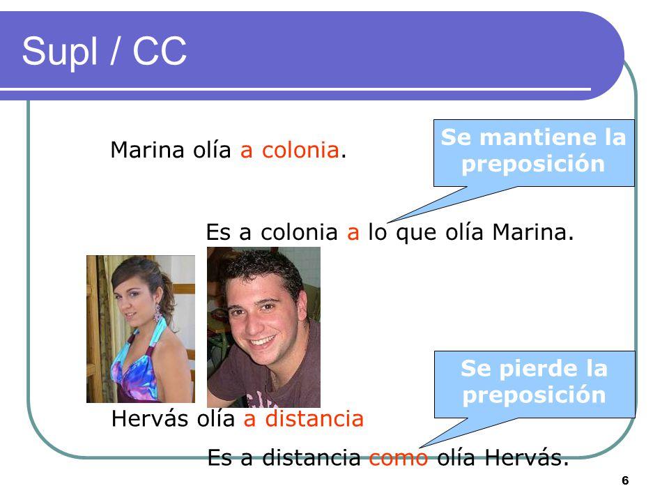 6 Supl / CC Marina olía a colonia.Hervás olía a distancia Es a colonia a lo que olía Marina.
