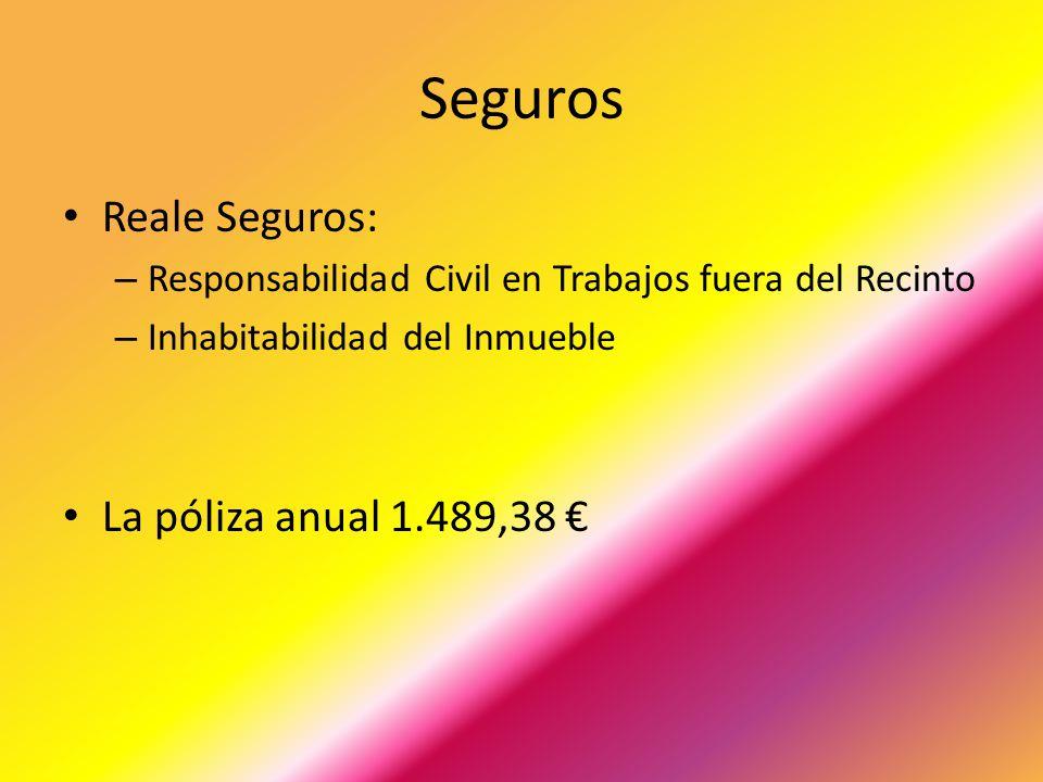 Seguros Reale Seguros: – Responsabilidad Civil en Trabajos fuera del Recinto – Inhabitabilidad del Inmueble La póliza anual 1.489,38