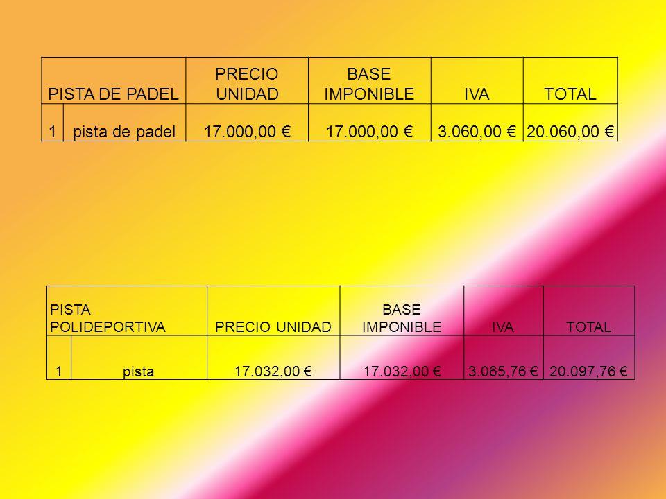 PISTA DE PADEL PRECIO UNIDAD BASE IMPONIBLEIVATOTAL 1pista de padel17.000,00 3.060,00 20.060,00 PISTA POLIDEPORTIVAPRECIO UNIDAD BASE IMPONIBLEIVATOTA