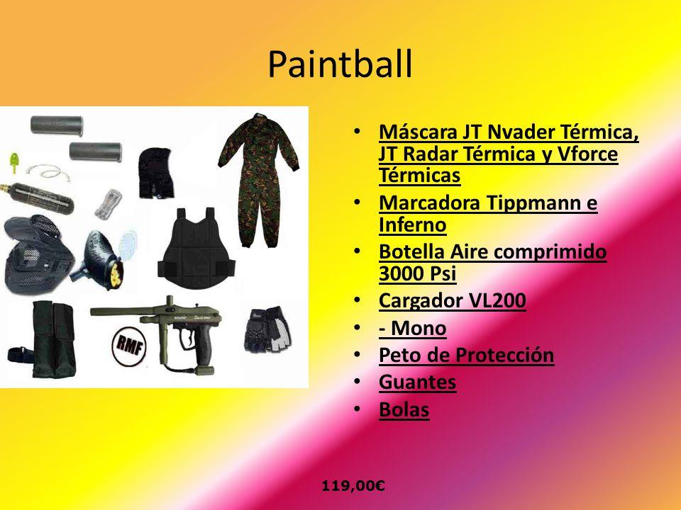 Paintball Máscara JT Nvader Térmica, JT Radar Térmica y Vforce Térmicas Marcadora Tippmann e Inferno Botella Aire comprimido 3000 Psi Cargador VL200 -
