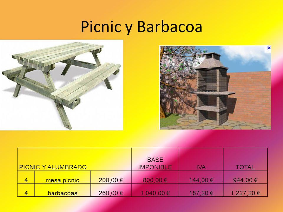 Picnic y Barbacoa PICNIC Y ALUMBRADO BASE IMPONIBLEIVATOTAL 4mesa picnic200,00 800,00 144,00 944,00 4barbacoas260,00 1.040,00 187,20 1.227,20