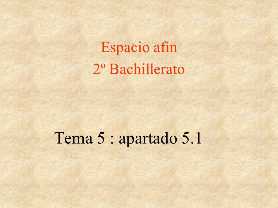 Espacio afín 2º Bachillerato Tema 5 : apartado 5.1