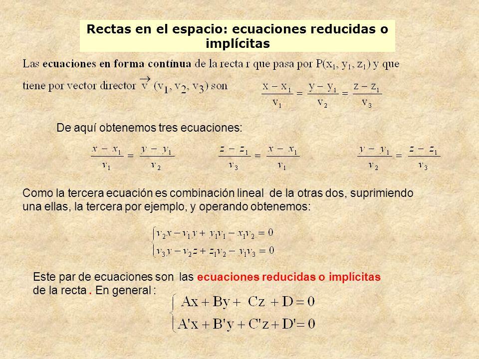 Rectas en el espacio: ecuaciones reducidas o implícitas De aquí obtenemos tres ecuaciones: Como la tercera ecuación es combinación lineal de la otras