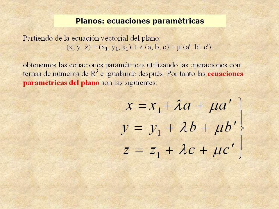 Planos: ecuaciones paramétricas