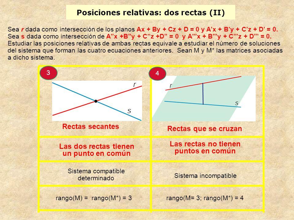 Sea r dada como intersección de los planos Ax + By + Cz + D = 0 y Ax + By + Cz + D = 0. Sea s dada como intersección de Ax +By + Cz +D = 0 y Ax + By +
